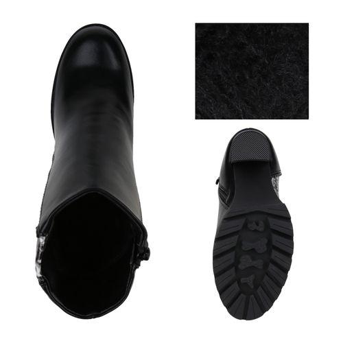 Damen Stiefeletten High Heels - Schwarz Grau Weiß Snake