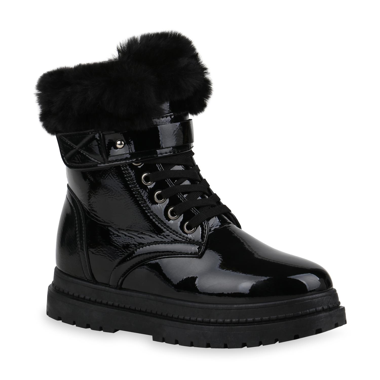 Stiefel - Damen Stiefeletten Plateau Boots Schwarz › stiefelparadies.de  - Onlineshop Stiefelparadies