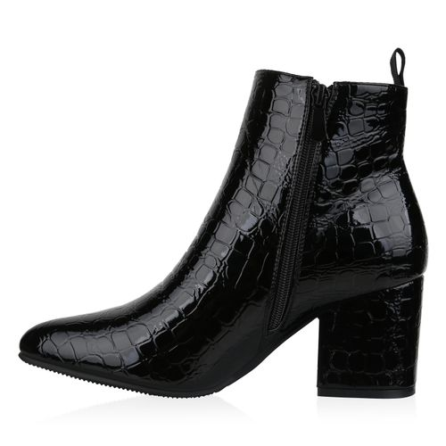 Damen Klassische Stiefeletten - Schwarz Kroko