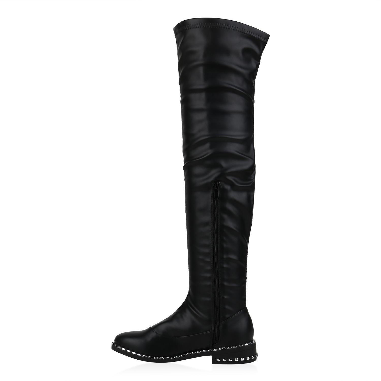 Damen Stiefel Overknees Leder-Optik Boots Nieten Langschaftstiefel 832360 Trendy
