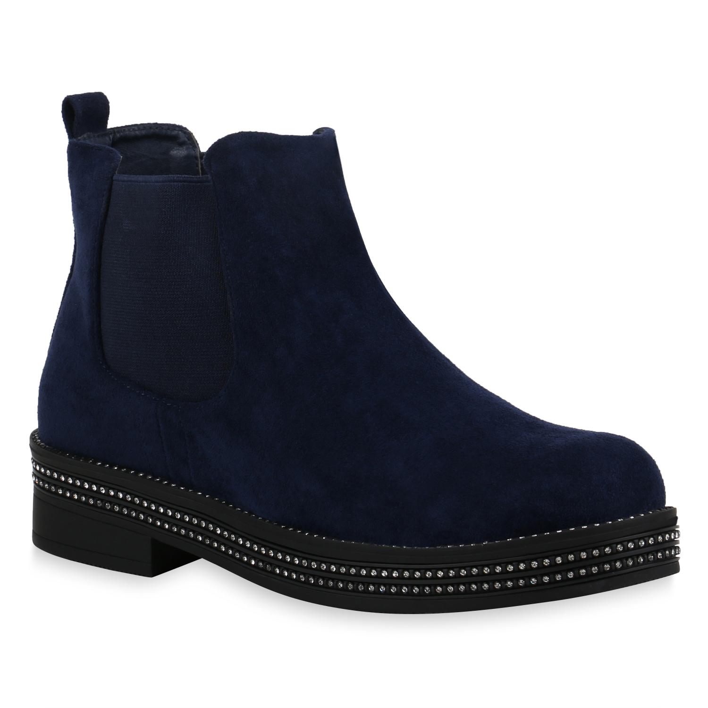 Stiefel für Frauen - Damen Stiefeletten Chelsea Boots Dunkelblau › stiefelpardies.de  - Onlineshop Stiefelparadies