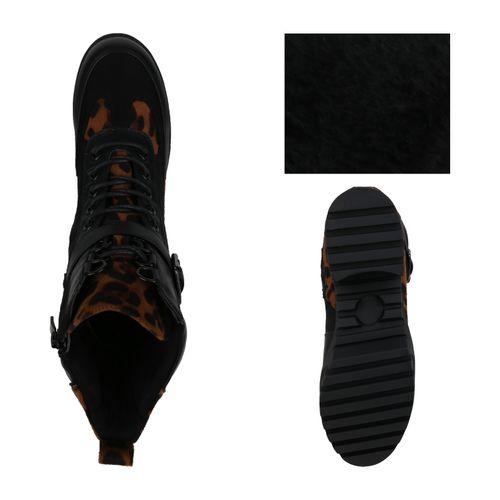 Damen Stiefeletten Plateau Boots - Schwarz Leo