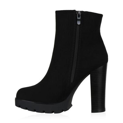 Damen Stiefeletten High Heels - Schwarz Weiß Grau Velours