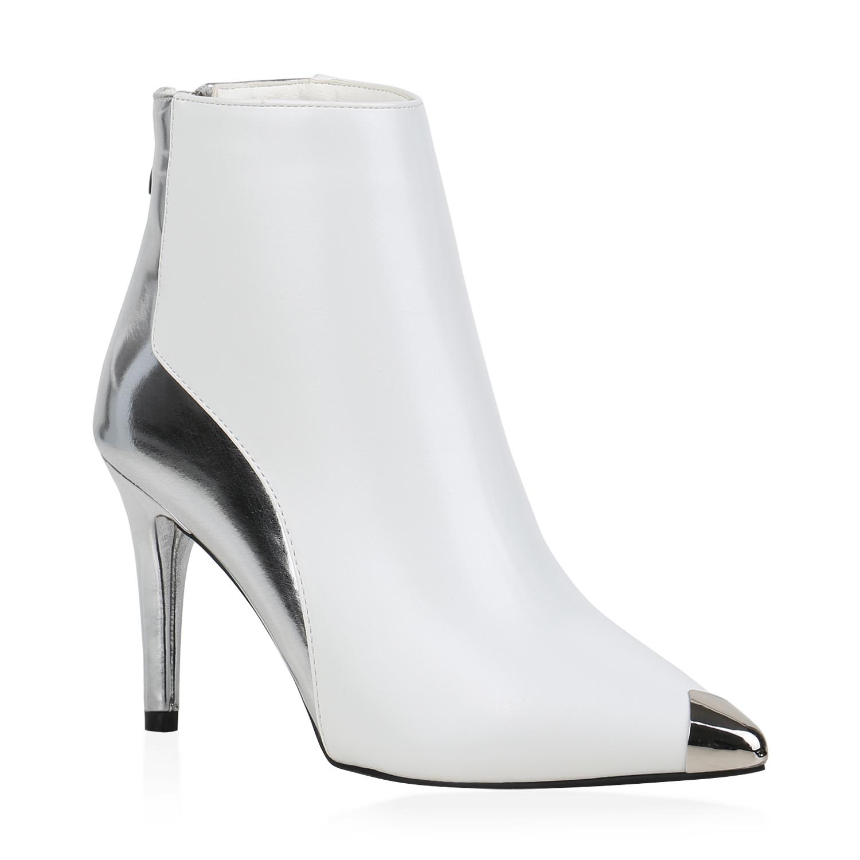 Damen Klassische Stiefeletten - Weiß Silber Metallic