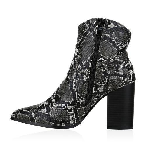 Damen Stiefeletten Cowboy Boots - Schwarz Weiß Dunkelgrau Snake