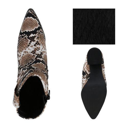 Damen Stiefeletten Cowboy Boots - Hellbraun Weiß Schwarz Snake