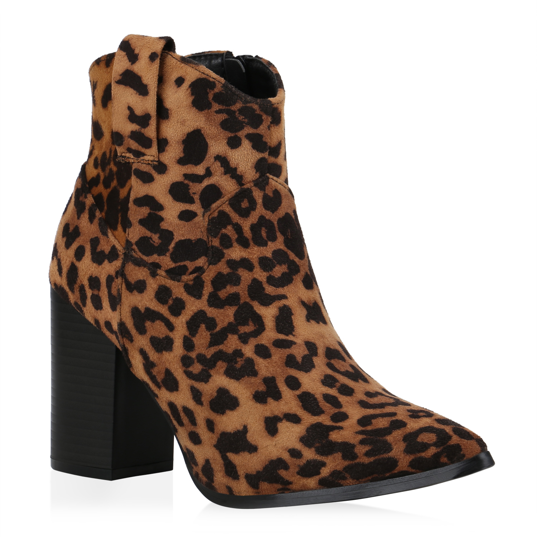 Damen Stiefeletten Cowboy Boots - Hellbraun Schwarz Leo