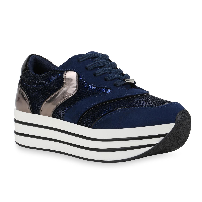 Sneakers - Damen Plateau Sneaker Dunkelblau › stiefelparadies.de  - Onlineshop Stiefelparadies