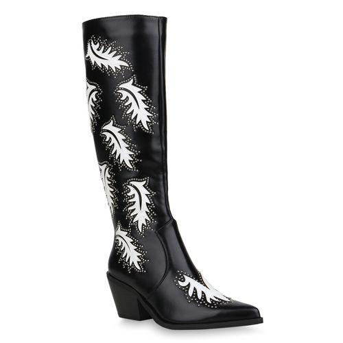 Damen Stiefel Cowboystiefel - Schwarz Weiß