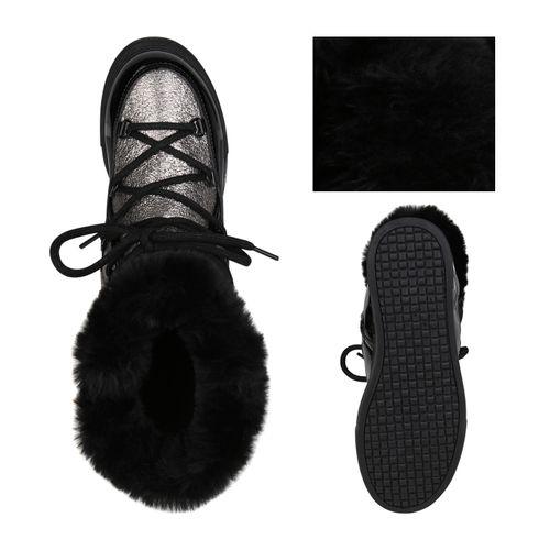 Damen Stiefeletten Winter Boots - Silber Schwarz