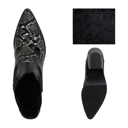 Damen Stiefeletten Cowboy Boots - Schwarz Dunkelgrau Weiß Snake