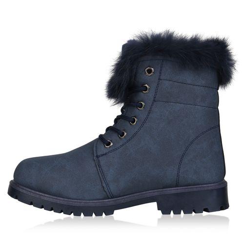 Damen Stiefeletten Worker Boots - Marineblau