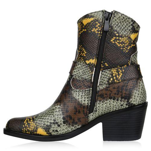 Damen Stiefeletten Cowboy Boots - Braun Gelb Hellgrün Snake