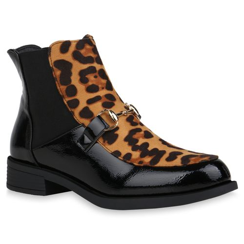 Damen Stiefeletten Chelsea Boots - Schwarz Hellbraun Leo