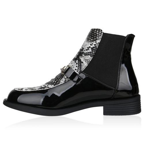 Damen Stiefeletten Chelsea Boots - Schwarz Hellgrau Snake
