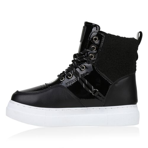 Damen Stiefeletten Winter Boots - Schwarz Lack