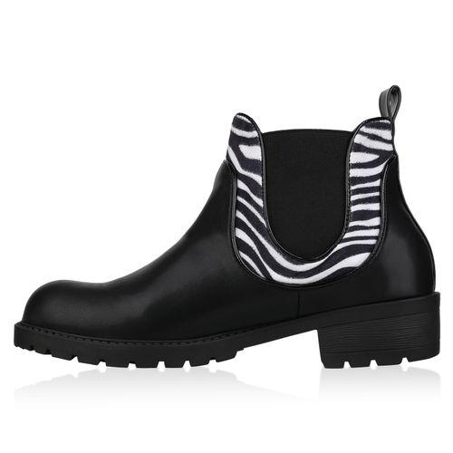 Damen Stiefeletten Chelsea Boots - Schwarz Weiß Zebra