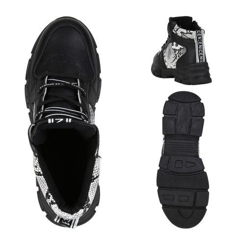 Damen Stiefeletten Outdoor Schuhe - Schwarz Weiß Snake