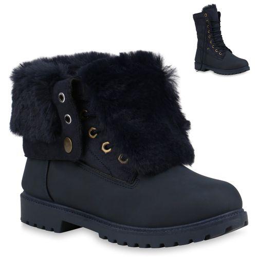 Damen Stiefeletten Winter Boots - Dunkelblau