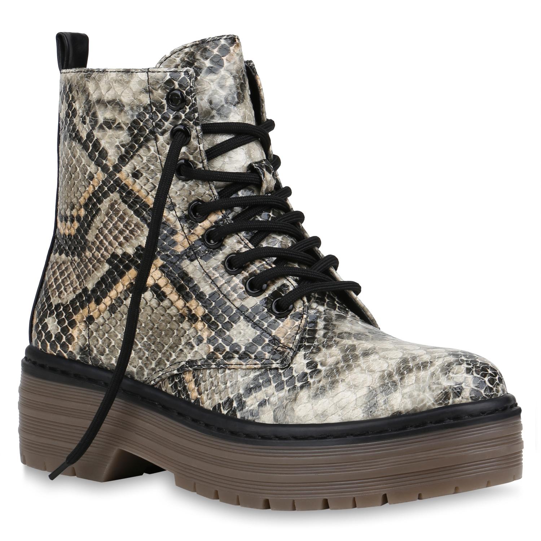 Damen Stiefeletten Plateau Boots - Schwarz Stone Khaki Snake