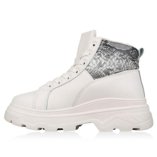 Damen Stiefeletten Plateau Boots - Grau Creme Snake