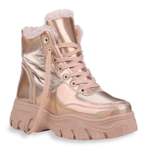 Damen Stiefeletten Plateau Boots - Rose Gold