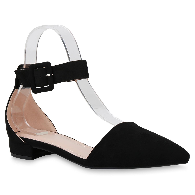 Ballerinas - Damen Ballerinas Riemchenballerinas Schwarz › stiefelparadies.de  - Onlineshop Stiefelparadies
