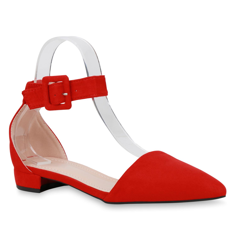 Ballerinas - Damen Ballerinas Riemchenballerinas Rot › stiefelparadies.de  - Onlineshop Stiefelparadies