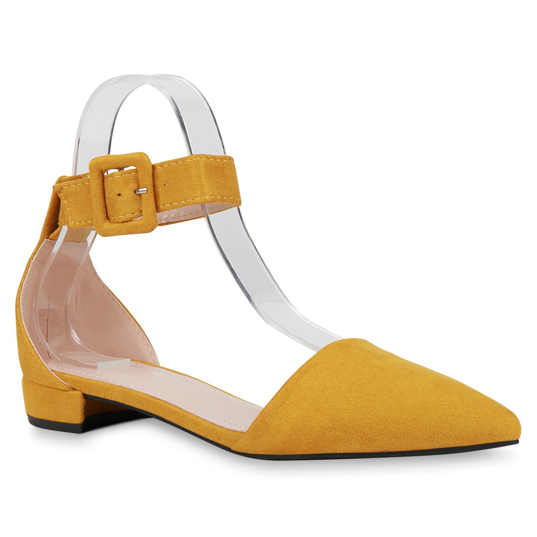 Ballerinas - Damen Ballerinas Riemchenballerinas Gelb › stiefelparadies.de  - Onlineshop Stiefelparadies