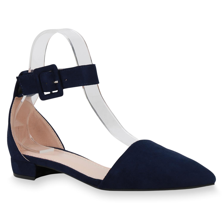 Ballerinas - Damen Ballerinas Riemchenballerinas Marineblau › stiefelparadies.de  - Onlineshop Stiefelparadies