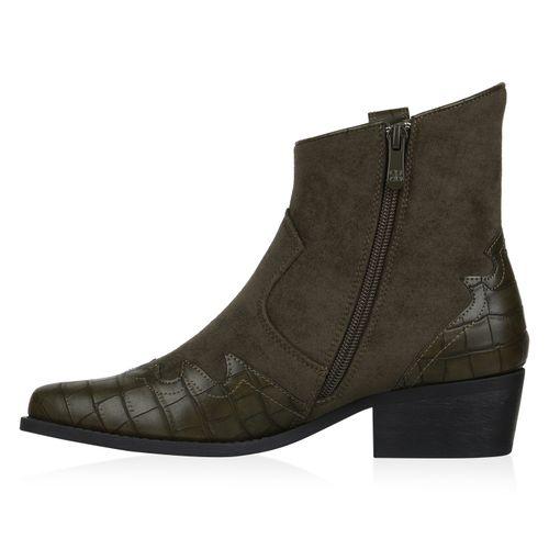 Damen Stiefeletten Cowboy Boots - Olivgrün