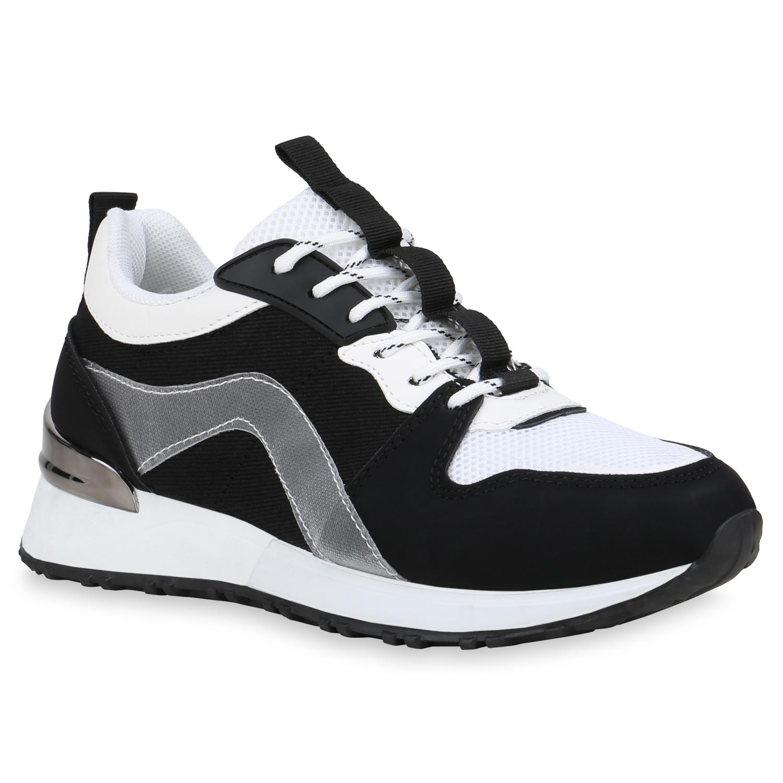 Sneakers - Damen Sneaker Wedges Schwarz Weiß › stiefelparadies.de  - Onlineshop Stiefelparadies