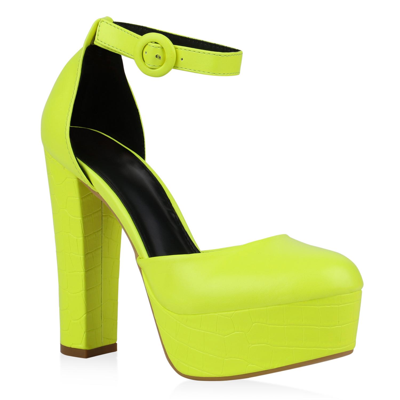 Damen Plateau Pumps - Neon Gelb