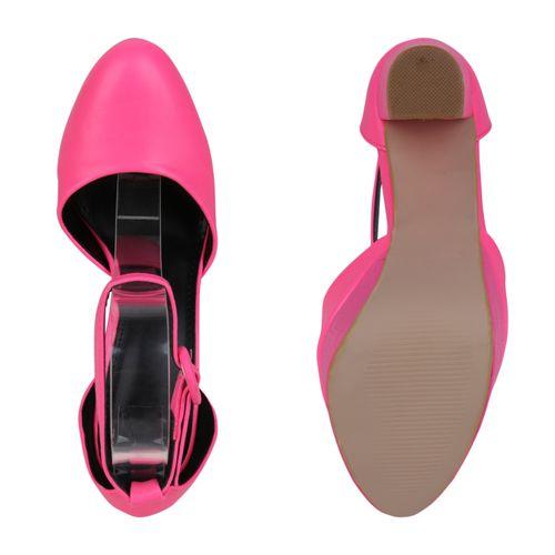 Damen Plateau Pumps - Neon Pink