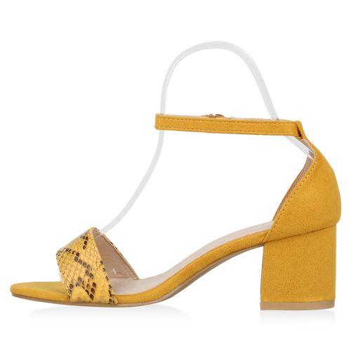 Damen Sandaletten Riemchensandaletten - Gelb Schwarz Snake
