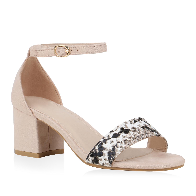 Sandalen - Damen Sandaletten Riemchensandaletten Nude Weiß Schwarz Snake › stiefelparadies.de  - Onlineshop Stiefelparadies