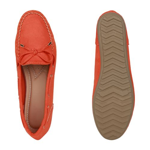 Damen Slippers Mokassins - Dunkelorange