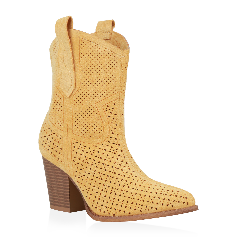 Damen Stiefeletten Cowboy Boots - Gelb