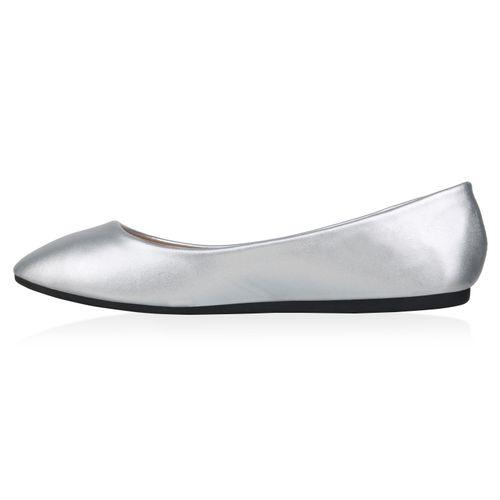 Damen Klassische Ballerinas - Silber Metallic