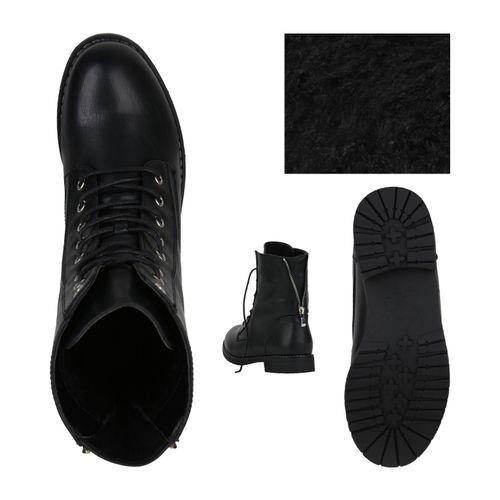 Damen Stiefeletten Schnürstiefeletten - Schwarz Silber