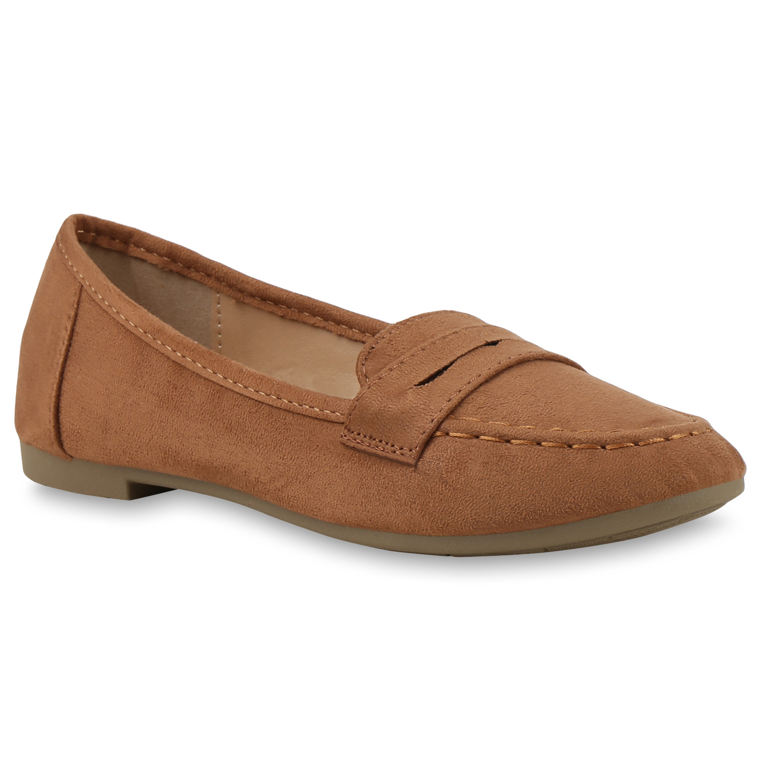 Damen Slippers Loafers - Hellbraun