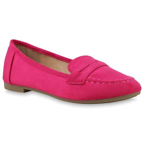 Damen Slippers Loafers - Dunkelpink