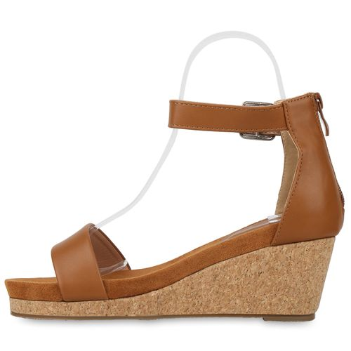 Billig Damen Schuhe Damen Sandaletten in Hellbraun 833070151
