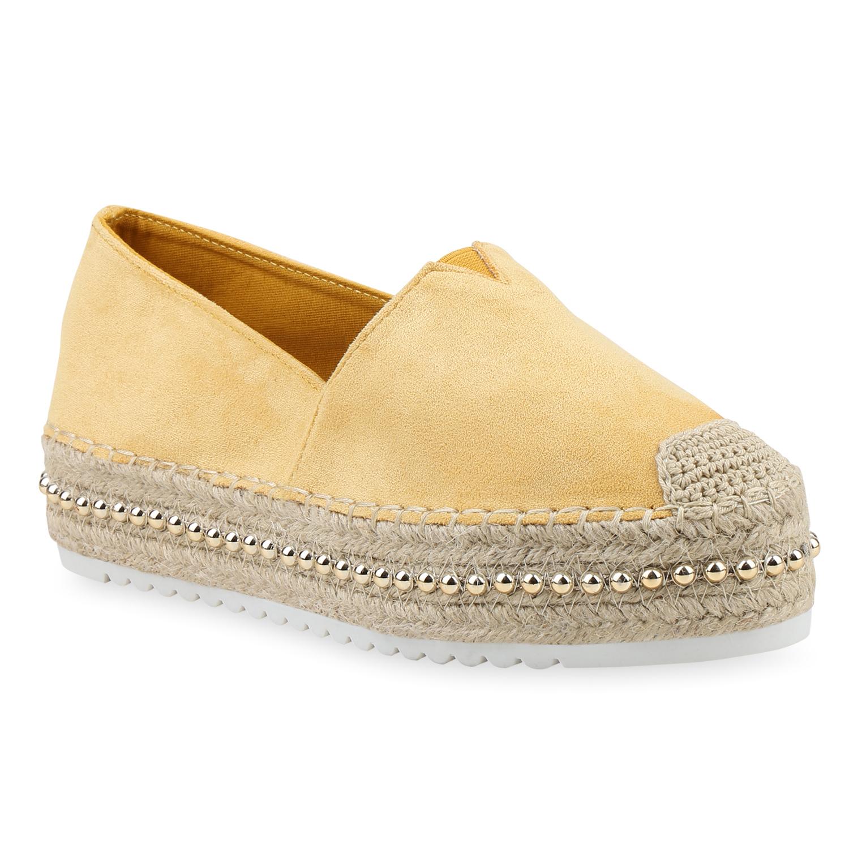 Slipper - Damen Slippers Espadrilles Gelb › stiefelparadies.de  - Onlineshop Stiefelparadies