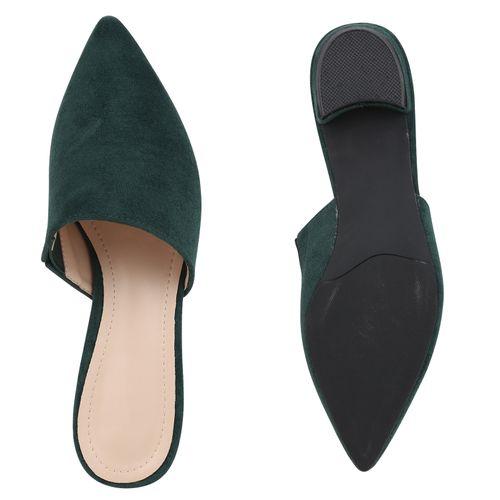 Damen Slippers Pantoletten - Moosgrün