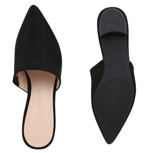 Damen Slippers Pantoletten - Schwarz