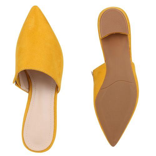 Damen Slippers Pantoletten - Gelb