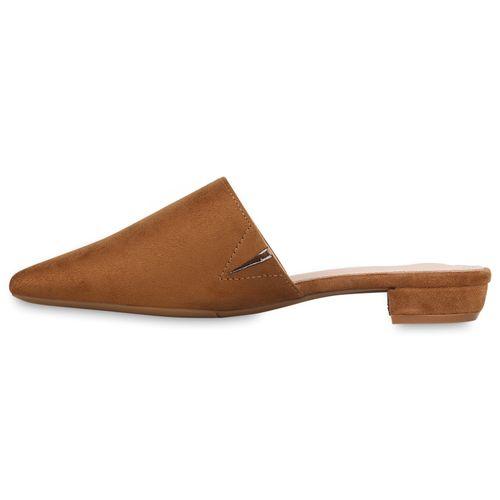 Damen Slippers Pantoletten - Hellbraun
