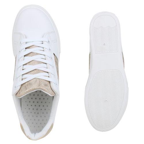 Damen Plateau Sneaker - Weiß Beige Gold Snake