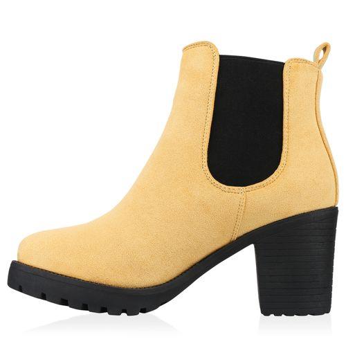 Damen Stiefeletten Chelsea Boots - Gelb Schwarz